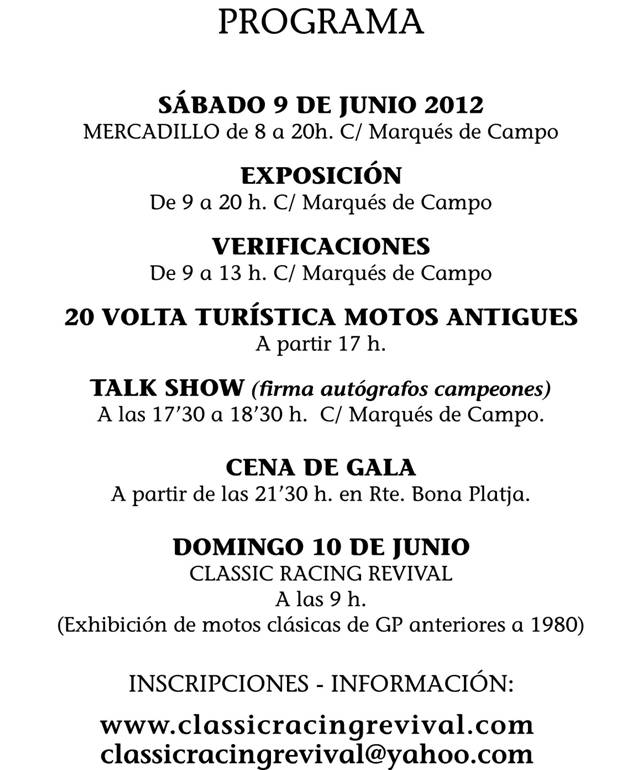 20 Classic Racing Revival Denia 2012 Cartellportada